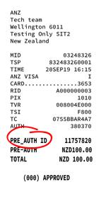 Verifone Network Pre-Auth Receipt