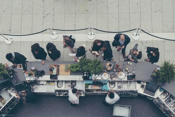 queue at a cafe